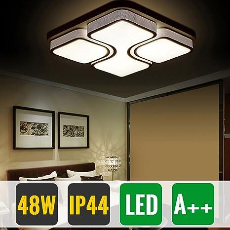 HG® 48W Lámpara de techo LED con luz de techo, vatios, blanco cálido, habitación moderna, con iluminación, dormitorio