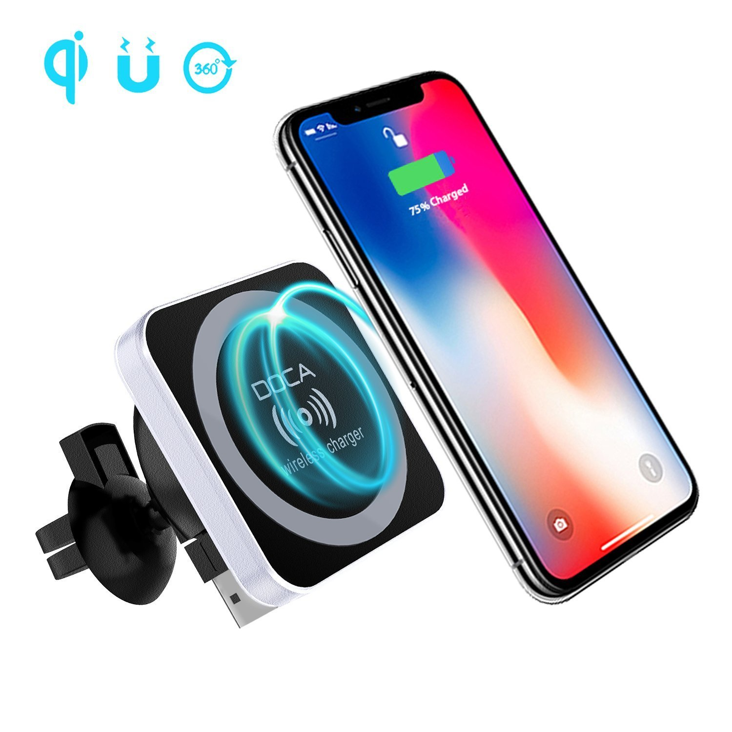 QI Wireless Car Charger, DOCA Magnetic QI Standard Car Charger Air Vent Phone Mount Holder for iPhone X iPhone 8/8 Plus Galaxy Note 8 S8/S8 Plus S7 Edge and Any QI Enabled Phones