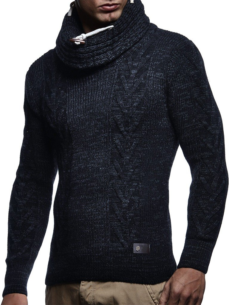 Leif Nelson LN7135 Men's Knitted Turtleneck Pullover; Size US S, Black Anthracite