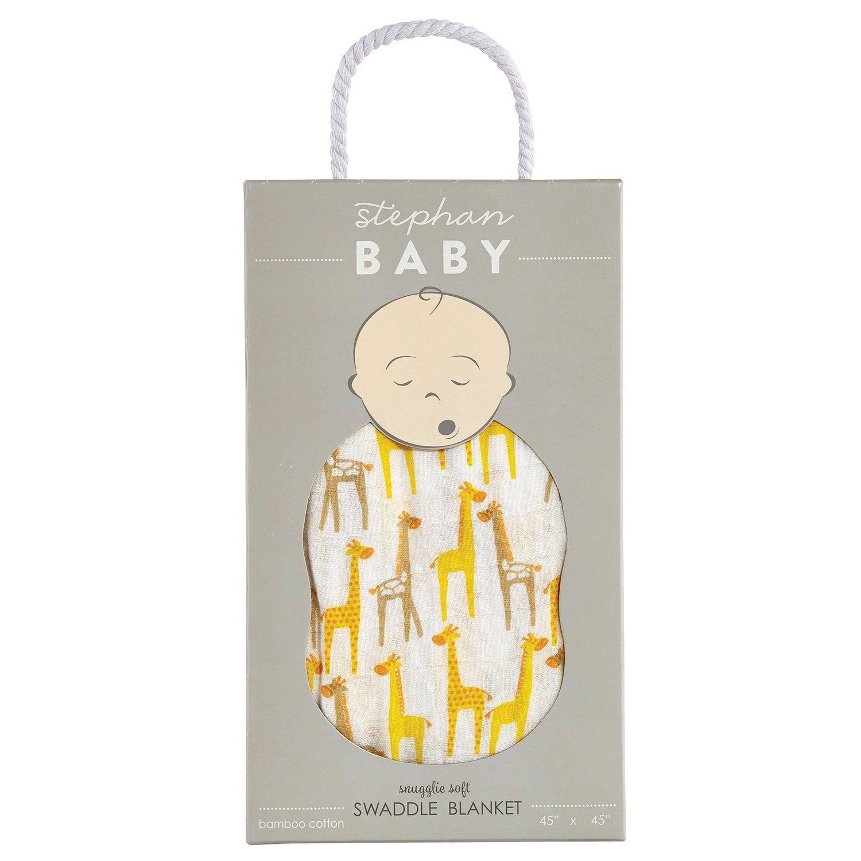 Stephan Baby Viscose Cotton Muslin Swaddle Blanket, Giraffes