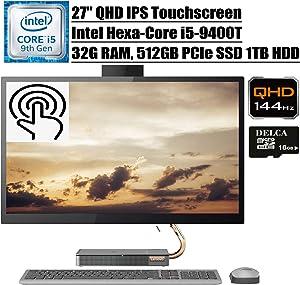 """Lenovo Ideacentre A540 2020 Premium All in One Desktop Computer I 27"""" QHD IPS Touchscreen I Intel Hexa-Core i5-9400T (>i7-7700HQ)I 32GB DDR4 512GB PCIe SSD 1TB HDD Win 10 + Delca 16GB Micro SD Card"""