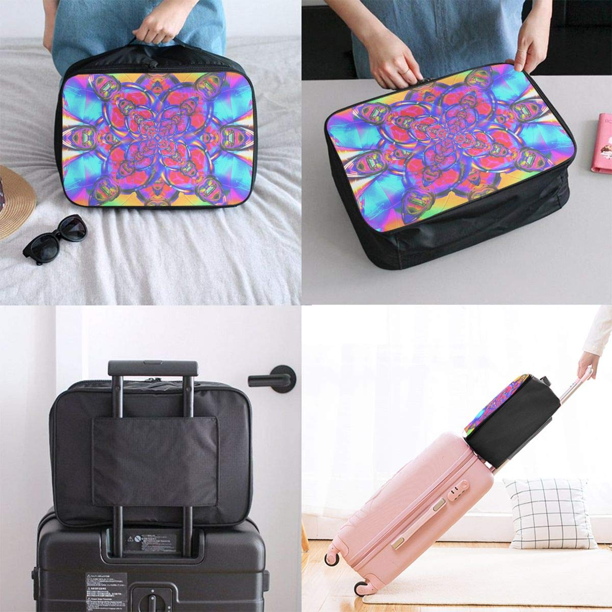 Container And Contents Mandala Travel Duffel Bag Waterproof Fashion Lightweight Large Capacity Portable Luggage Bag