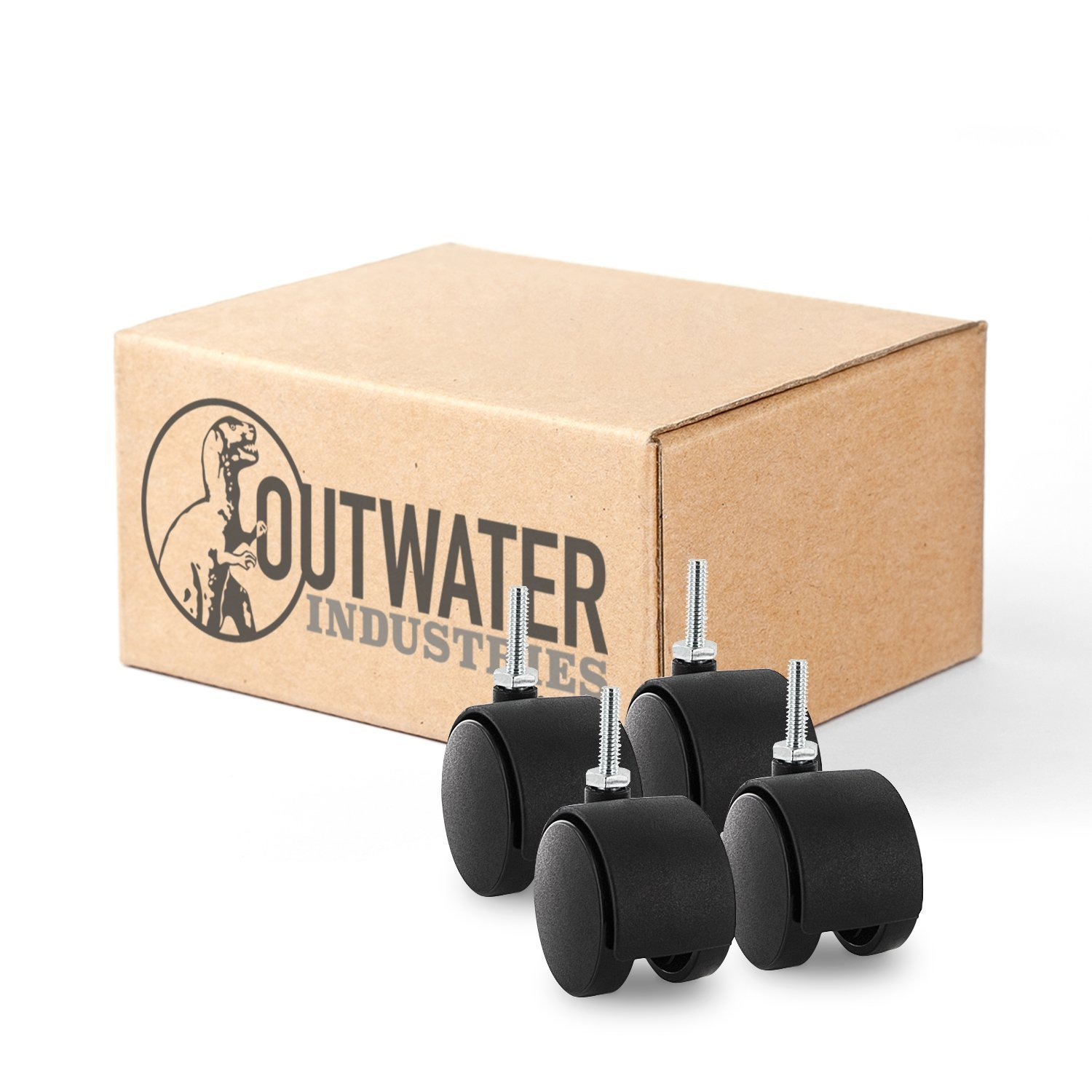 Outwater's Premium 2 inch Heavy Duty Gusset Reinforced Caster Wheels Without Brakes (Samson) SAMS-4-BK with 1/4-20 x 1'' Threaded Stem