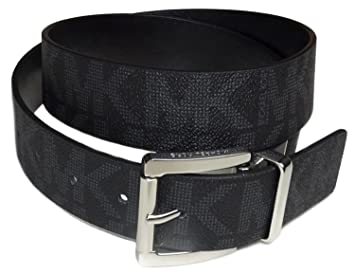 021459781 Image Unavailable. Image not available for. Color: Michael Kors Reversible  Belt Mk Logo Black / Black Silver Buckle ...