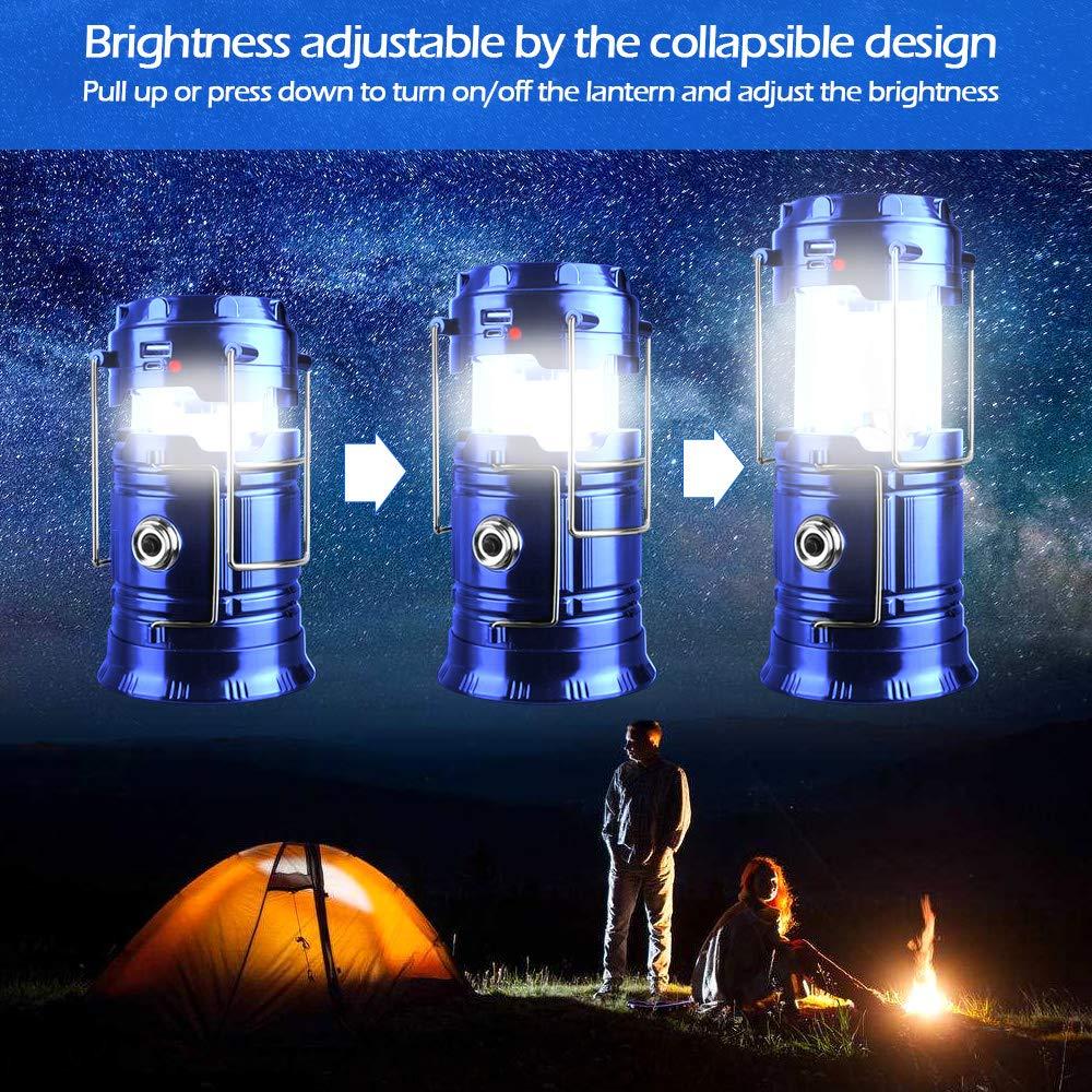 SunTop Lampe Solaire Portable Rechargeable Lumi/ère de Camping Lanterne de Camping LED Lanterne Rechargeable par Port USB Lampe T/élescopique Etanche