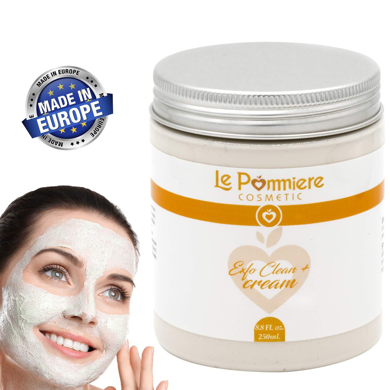 Mascarilla exfoliante facial 250ml con ácido hialurónico. Arcilla blanca natural purificante para piel grasa o mixta