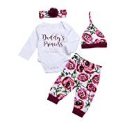 CPEI 4Pcs Baby Girls Clothes Set, Daddy's Princess Printed Romper Tops+Floral Pants+Hat+ Flower Headband (Rose, 0-3 Months)