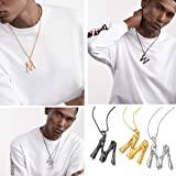 FOCALOOK Initial Necklace Platinum Plated Statement