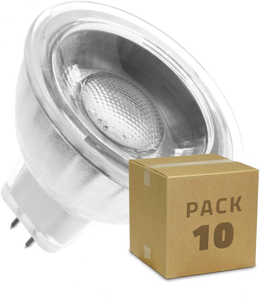 Pack Bombillas LED GU5.3 MR16 COB Cristal 220V 45º 5W (10 un) Blanco Cálido 3000K