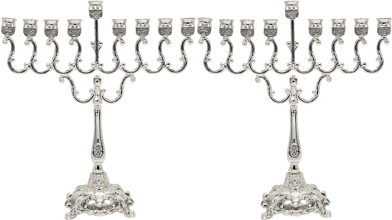 The Dreidel Company Lowest Priced Menorah Traditional Hanukkah Silver Plated Elegant Design Chanukah