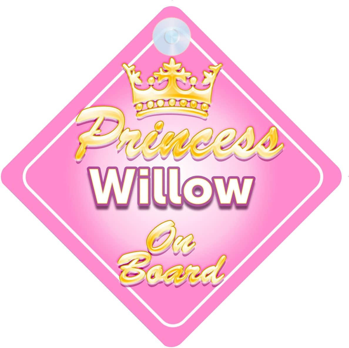 Child Girls Car Sign Crown Princess Willow On Board Personalised Baby