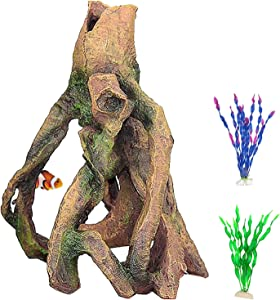 PINVNBY Tree Root Aquarium Decoration Resin Tree Stump Driftwood Fish Tank Trunk Ornament Betta Log with Holes for Fish,Shrimp,Guppies and Cichlids Play(3 Pcs)