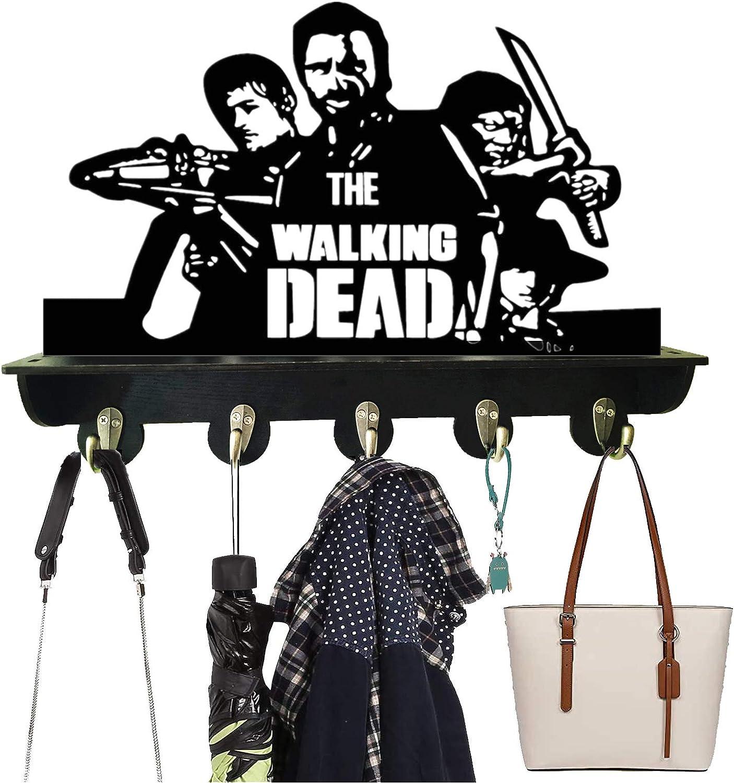 The Walking Dead Wall Coat Rack Hooks Coat Racks Shelf with 5 Study Hooks Wood Modern Display Home Decor Furniture Bear 22ls Best Gift