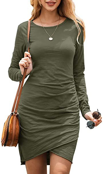 BTFBM Women Fashion Ruched Elegant Bodycon Long Sleeve Front Drawstring Solid Color Casual Basic Short Dress