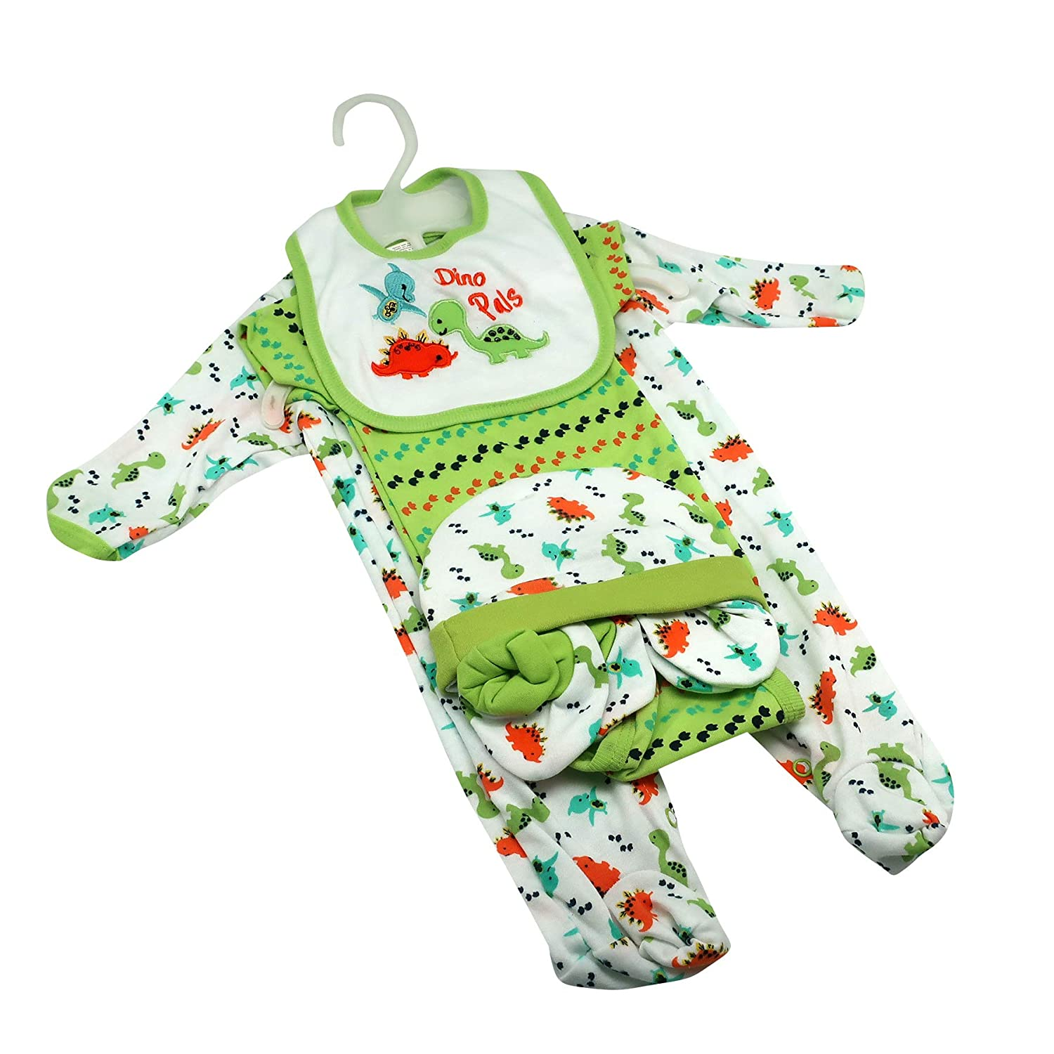 5e72eee5294f Gender Neutral Baby Clothes w/Cute Dinosaur Prints~ Stuff for Baby Boys &  Girls~ 6 Piece Set w/Bodysuit, Romper, Hat, Booties, Mittens & Bib~ Deal  Mom to Be ...