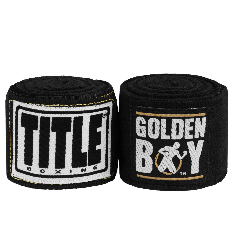 ゴールドen Boy EliteストレッチHand Wraps、ブラック