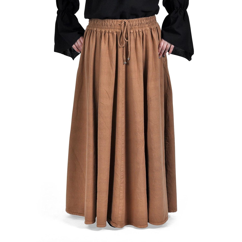 Ropa medieval - Falda medieval larga Tabari - marrón claro: Amazon ...