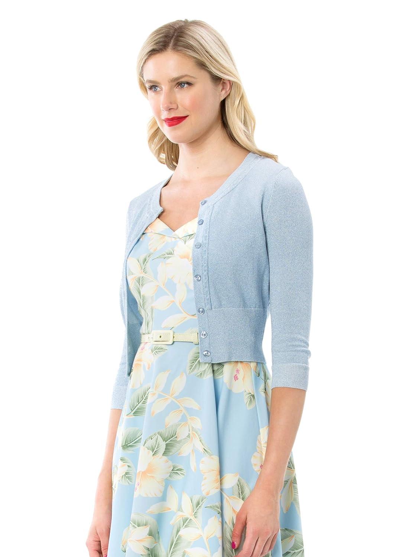 0037db15625 Review Women s Chessie Shimmer 3 4 Sleeve Cardi Blue Shimmer   Amazon.com.au  Fashion