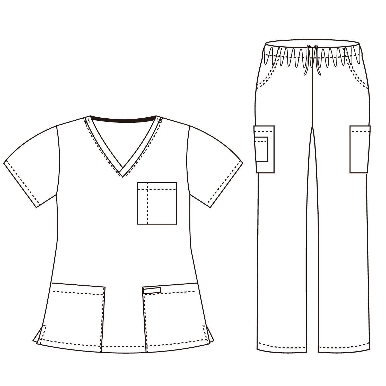 Dagacci Medical Uniform Woman and Man Scrub Set Unisex Medical Scrub Top and Pant, HGREEN, S by Dagacci Medical Uniform (Image #2)