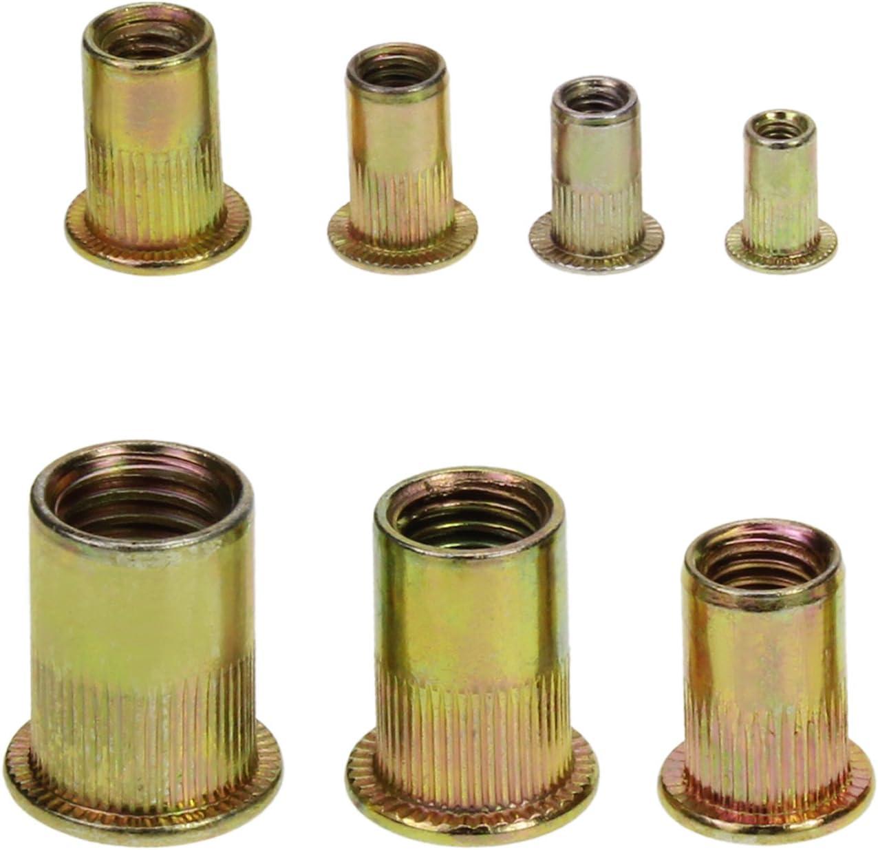 7 Types-150pcs AuSL 150PCS Yellow Zinc Plated Carbon Steel Rivet Nut M3 M4 M5 M6 M8 M10 M12 Flat Head Threaded Rivet Nutsert Cap Assortment