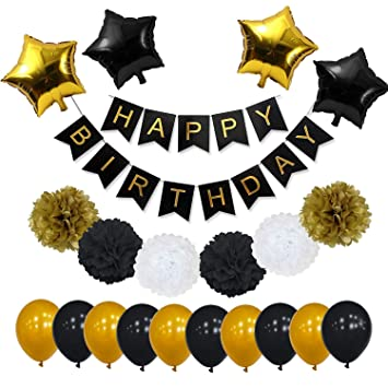 Black And Gold Party Decorations For Birthday By YoTruth Perfect Vibrant White