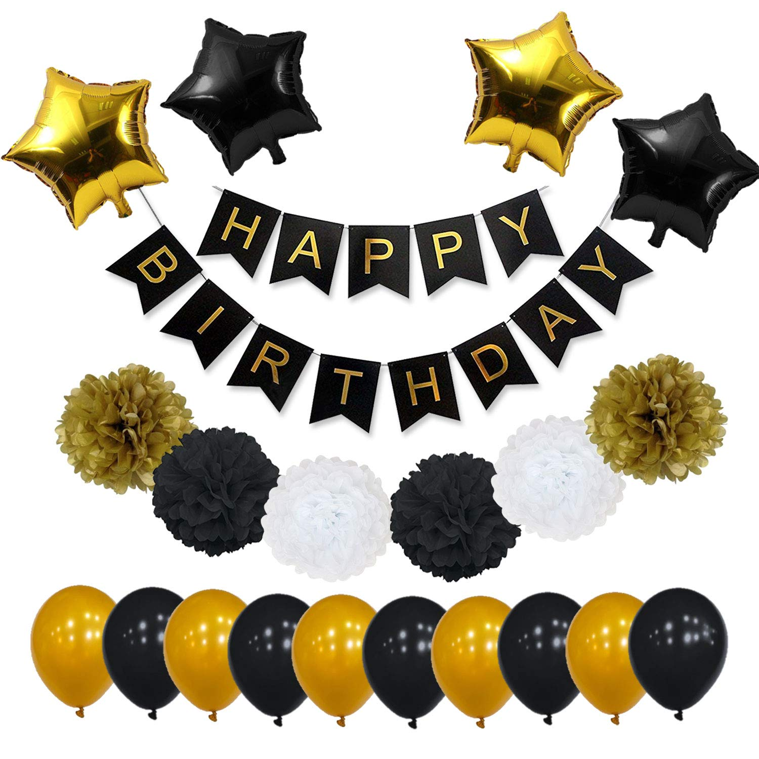 yotruth Black and Gold Party Decorations for Birthday Perfect Vibrant Gold Black White Birthday Decorations for Men and Women