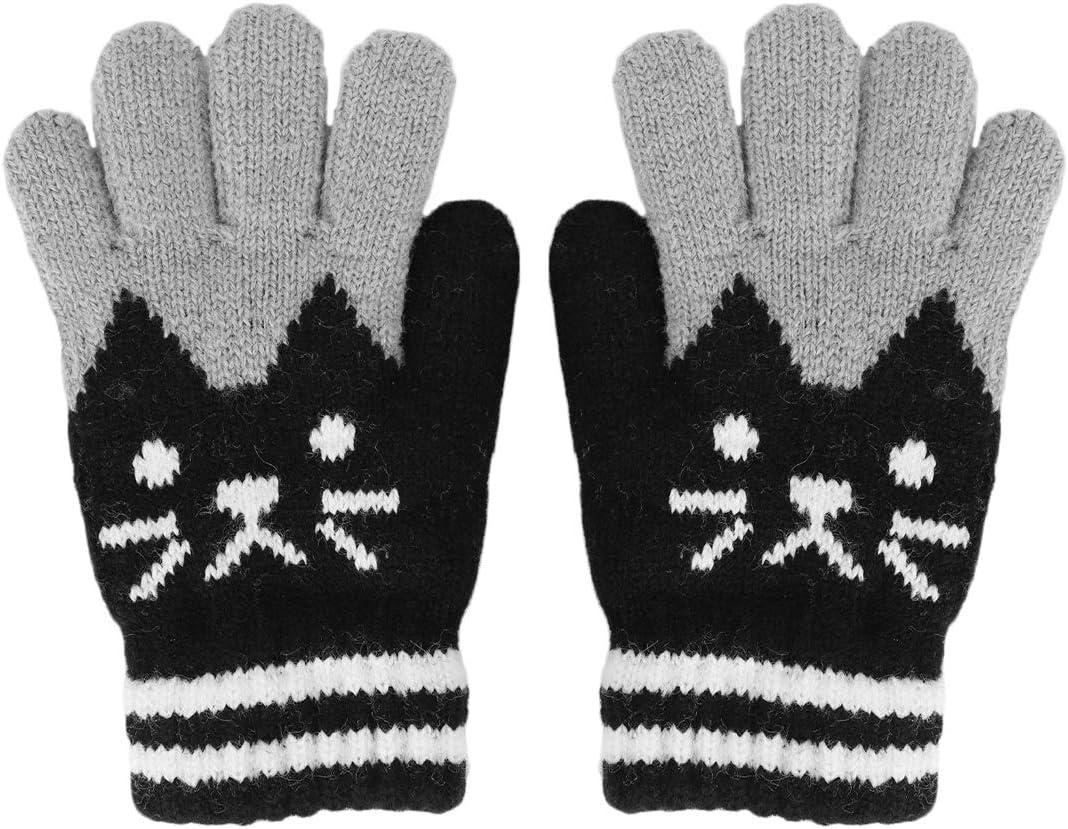 PURFUN Cat Design Winter Warm Skate Cycling Ski Knitted Gloves for 3-6 Yrs Girls Boys