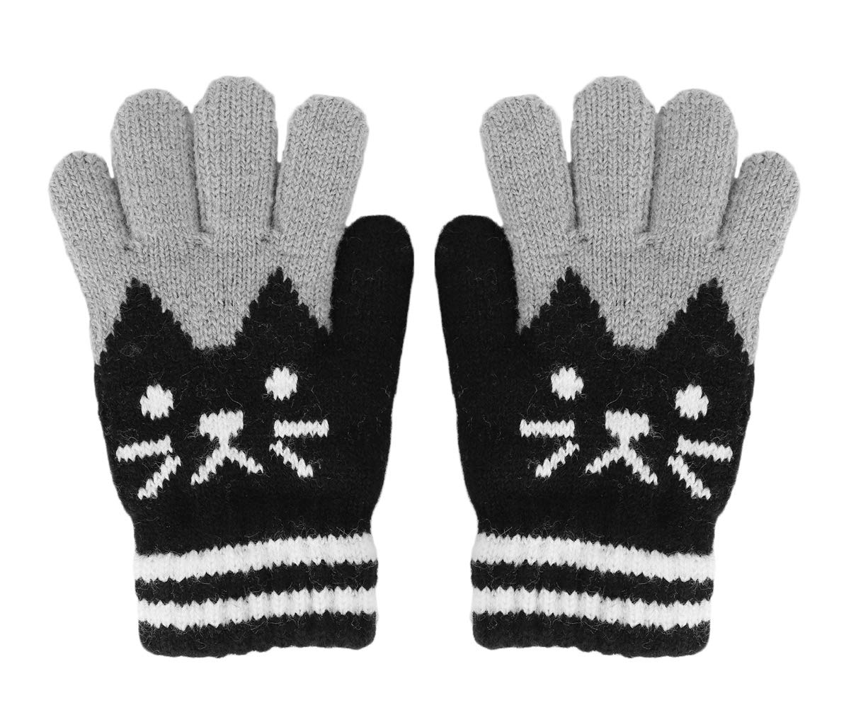 PURFUN Super Cute Cat Design Winter Thermal Knitted Gloves Short Skate Cycling Ski Gloves Mittens Hand Warmer for 3-6 Yrs Girls Boys, Christmas New Year Gift
