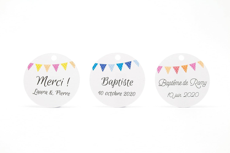 10 étiquettes rondes personnalisables, diamètre 34mm, motif fanions