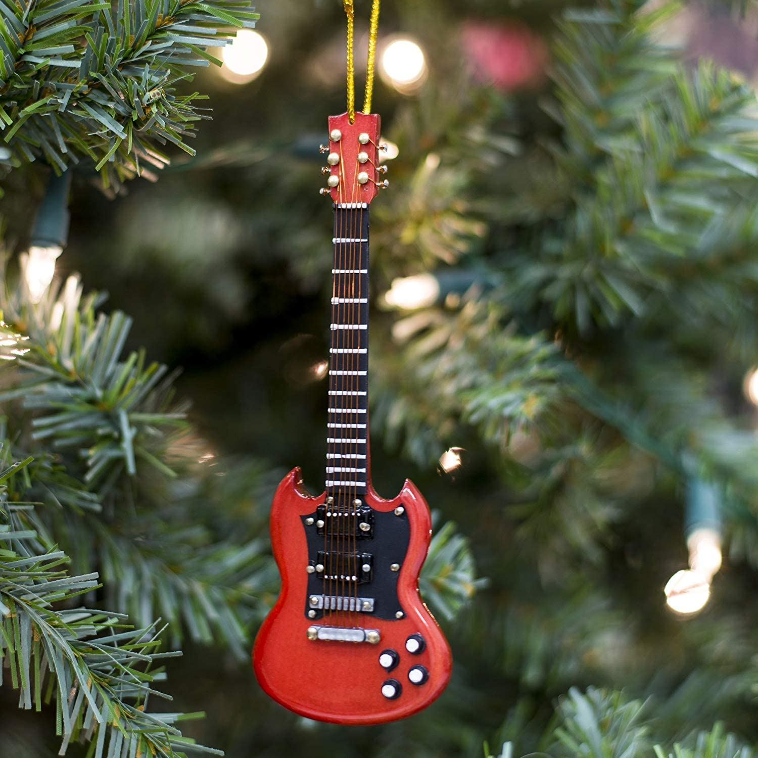 Broadway Gift Red Electric Guitar with Two Horns Music Instrument Replica Ornament Size 5 inch