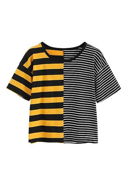 20aaa359aeb5ff MakeMeChic Women  Casual Loose Striped Crop Top Short Sleeve T-shirts Black  S
