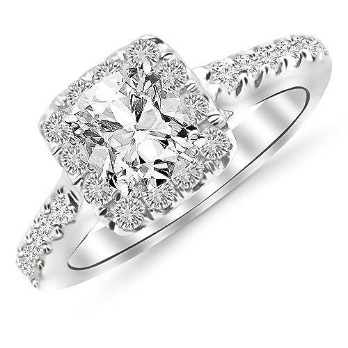 Amazon.com: Gia Certified Cojín de 1,5 quilates anillo de ...