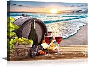 Wine Decor for Kitchen Beach Decor Wine Glass Canvas Prints Artwork Wine Barrel Wall Art for Dining Room Home Bar Decorations Seascape Sea Sunset Family Wall Decorations Bedroom Decor 12x16inch