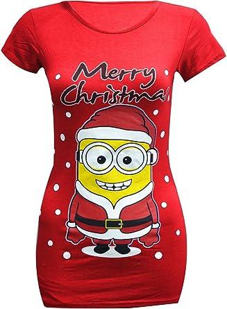 Mujer Despicable Me 2 Minion Navidad Camiseta Entallado Ajustado Top Talla RU 6-26: Amazon.es: Ropa y accesorios
