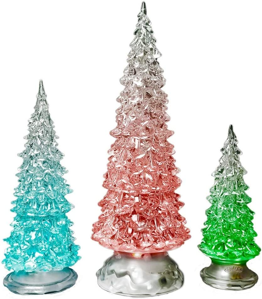 "BANBERRY DESIGNS Table Top Christmas Trees - Set of 3 - LED Lighted Acrylic Christmas Trees Holiday Decoration Set of 3 Assorted Sizes 10"", 7.5"" & 5.5"" H"