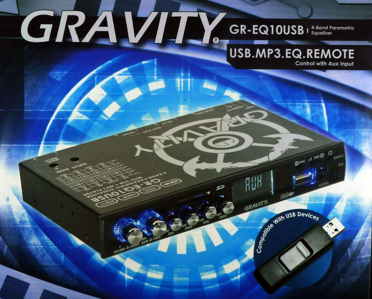 Gravity GR-EQ10USB Preamp Parametric Equalizer USB SD MP3 Controls AUX 4 Band HQ
