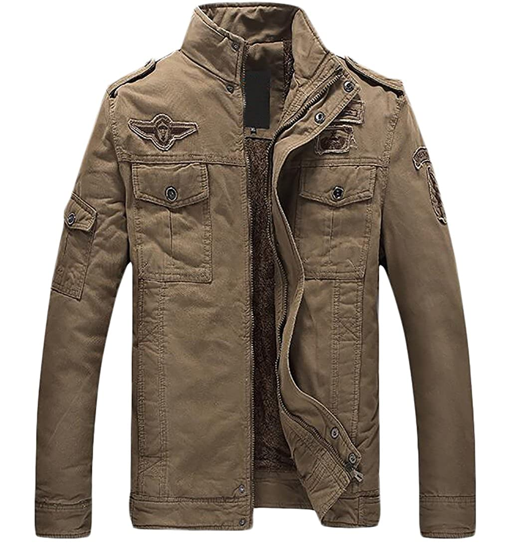 Zantt Mens Quilted Outwear Stand Collar Fleece Lined Military Jacket Coat