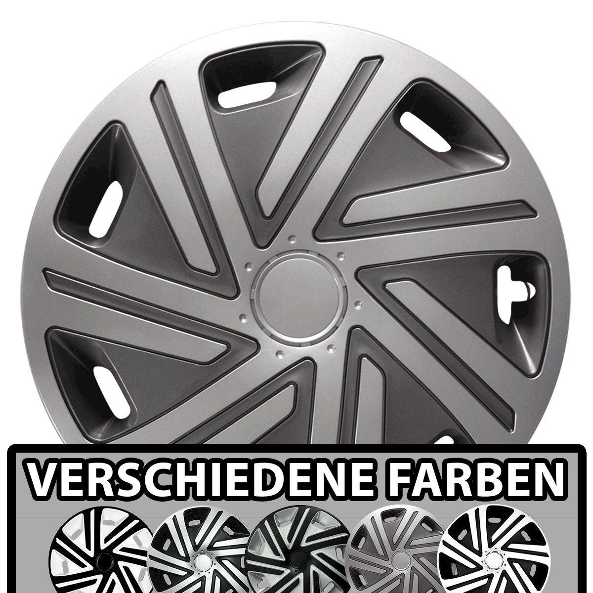 Eight Tec Handelsagentur (Größe und Farbe wählbar) Radzierblenden 14 Zoll – CYRKON (Schwarz-Silber) Bandel passend für Fast alle Fahrzeugtypen (universell)! RK-König