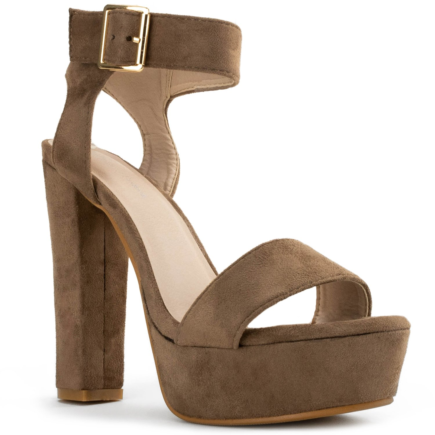 Taupe Suede Room Of Fashion RF Fashion D'Orsay Ankle Strap Kitten Heel Dress Sandal - Ess.