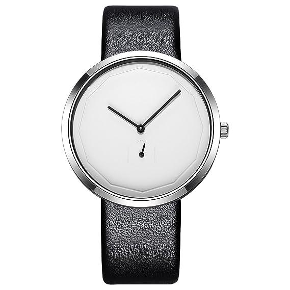 162066609c95 STARKING Woman Unisex Minimalist Wristwatch Thin Leather Black TM0909 Casual  Analog Quartz White Dial with Subdial