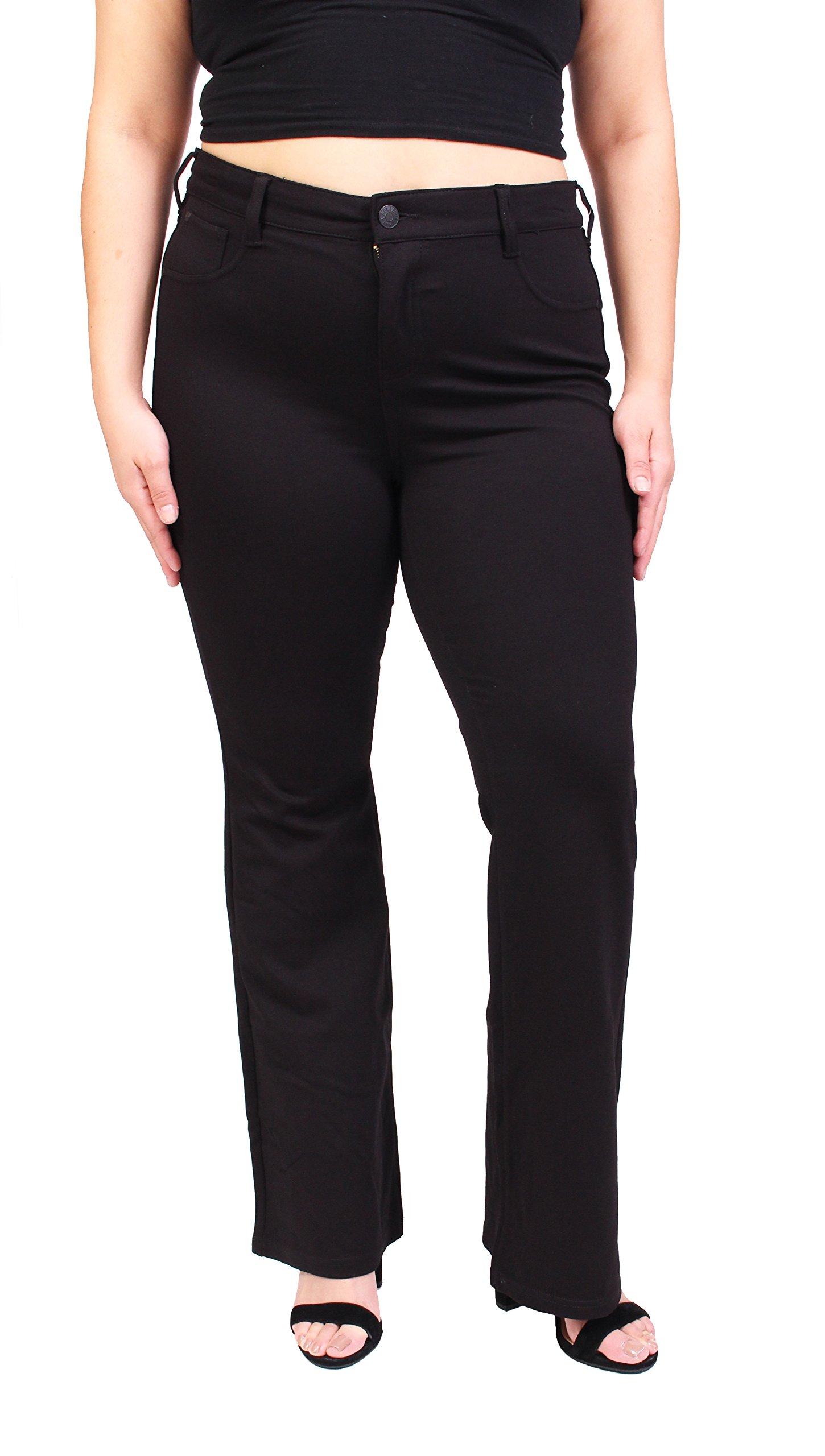 Celebrity Pink Women's Fashion Blue Jeans | Ponte Boot Cut| Plus Size | Button-Zipper Fly with 5 Pockets | Black Denim | Size 20