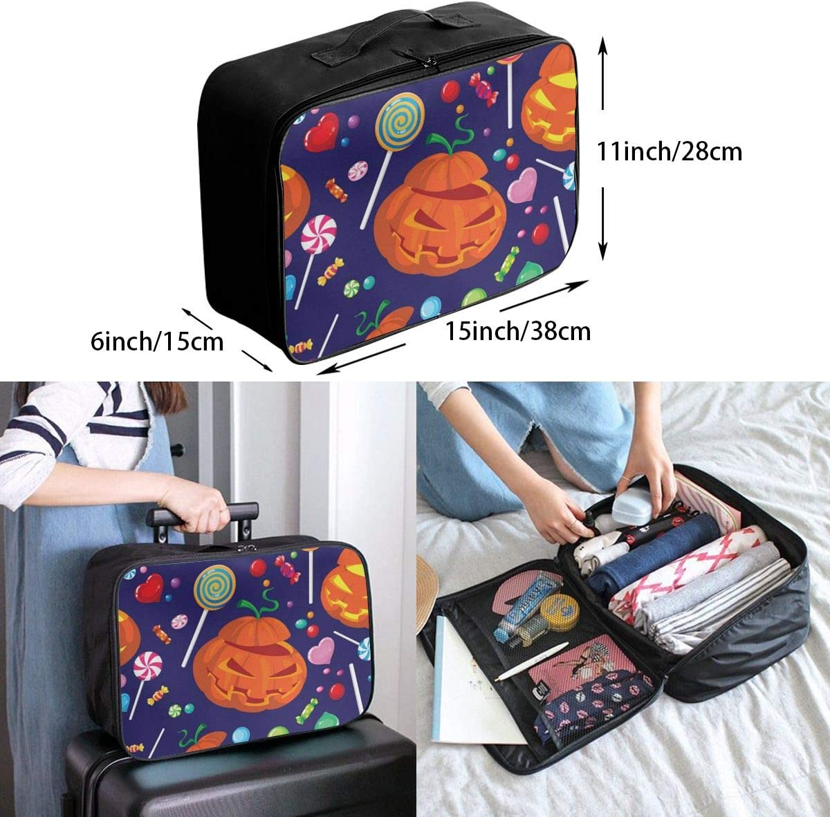 Yunshm Seamless Halloween Candy Vector Image Love Personalized Trolley Handbag Waterproof Unisex Large Capacity For Business Travel Storage