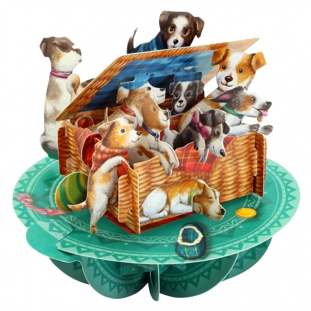 Santoro 3D Pirouette Greeting Card - Puppies In A Basket Santoro-London