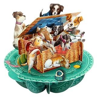 Santoro 3D Pirouette biglietto di auguri–cuccioli in un cestino Santoro-London