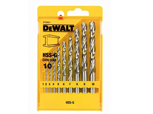 Dewalt HSS-G DIN 338 Jobber Metal Drill Bit Sets, 10 Pieces (DT5921)