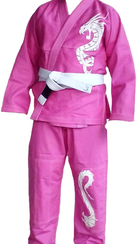 White Sticker M1 Celebrita Italy Kids Brazilian Jiu Jitsu Dragon Style Kimono gi Uniform DRAGON-K Pink