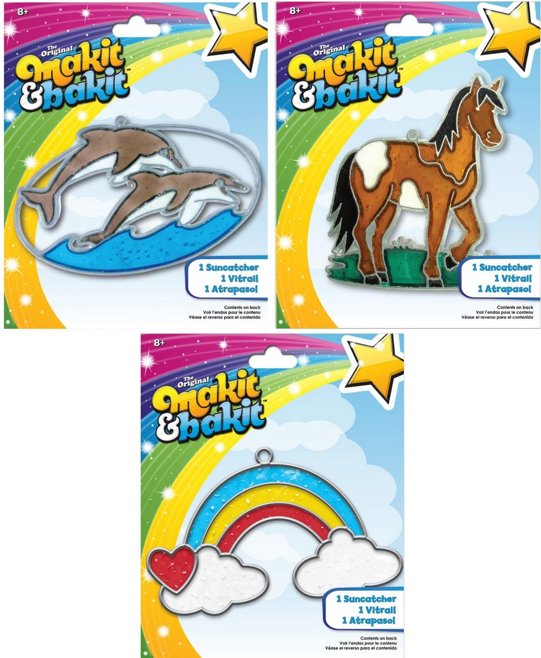 Suncatcher Kits - Dolphins (1), Horse (1), Rainbow with Clouds (1) - by Makit & Bakit / Colorbok - sun catcher stained glass art project for kids - Boys, girls, and children 8 years & up - Bundle of 3