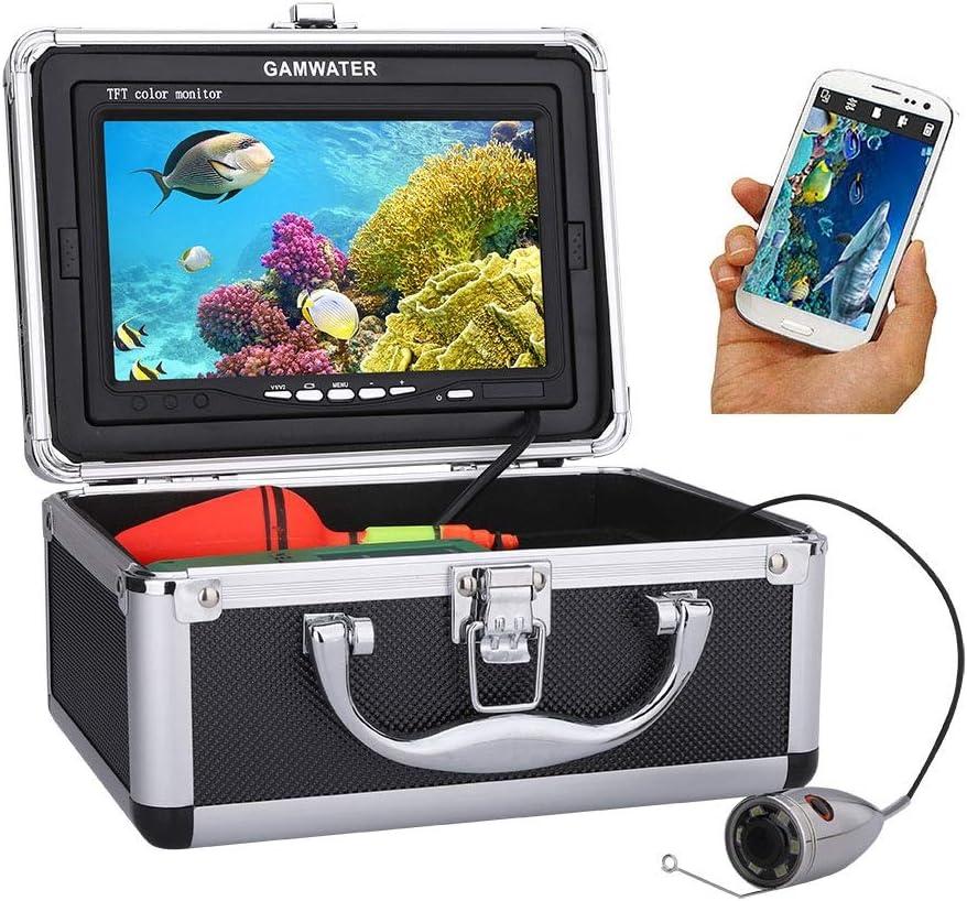Kit de cámara de video de pesca submarina, monitor de 7 pulgadas con cable, Buscador inalámbrico de peces HD Wifi para la aplicación de Android IOS Admite grabación de video y toma de fotos