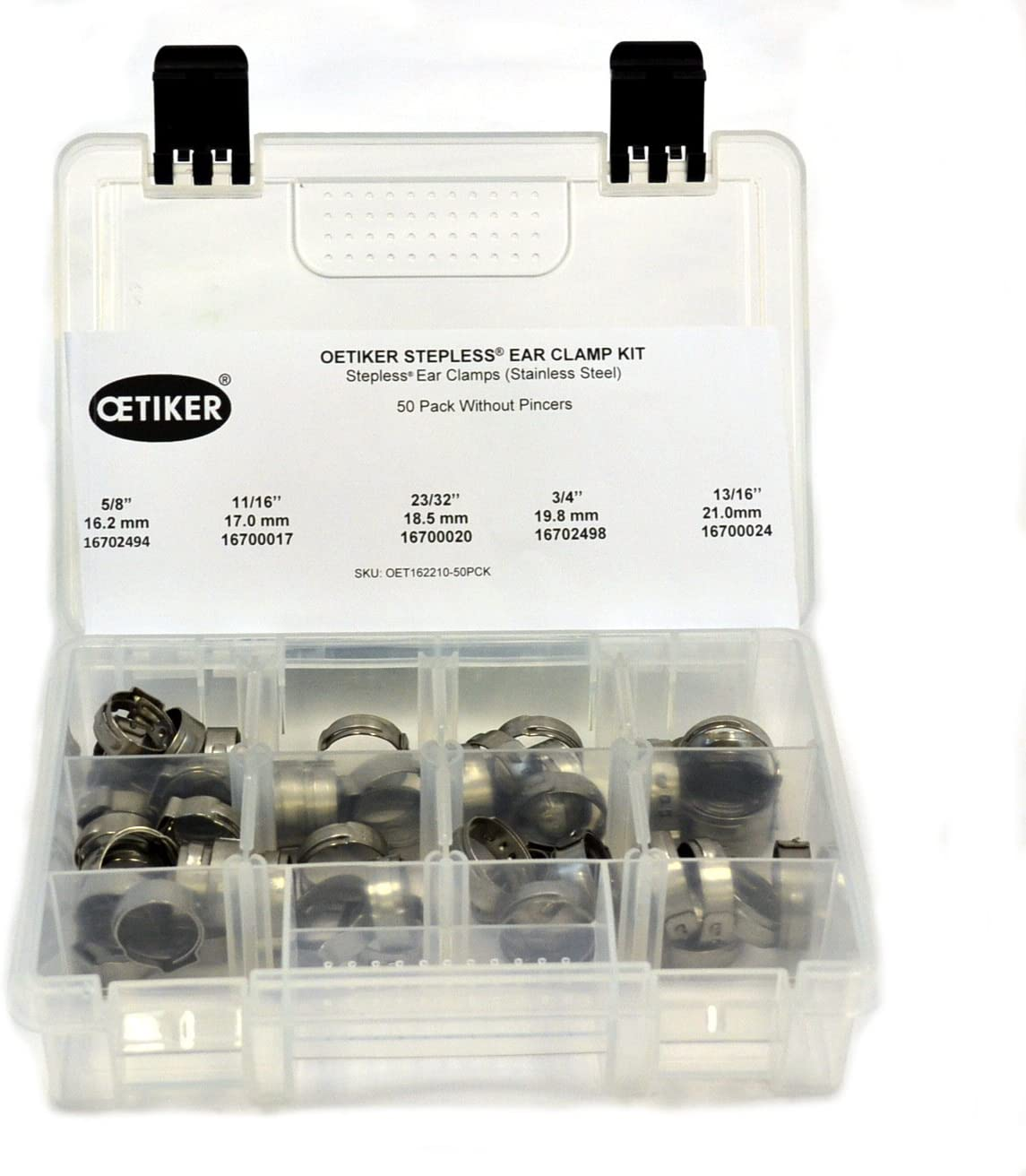 5//8-13//16 Pack of 50 Oetiker Stepless OET162210-50PCK Clamp Assortment Case Single Ear Hose Clamps Without Pincers Ear Clamps