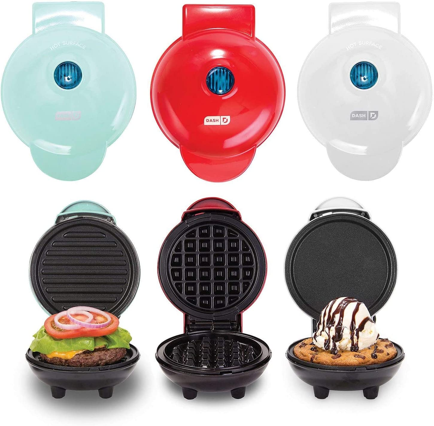 Dash Mini Maker Griddle, Waffle Maker and Grill Set Assorted Colors
